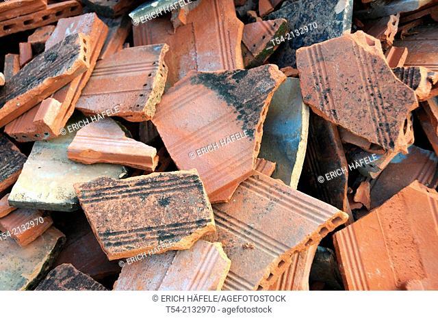 Broken tile roof plates in Memmingen