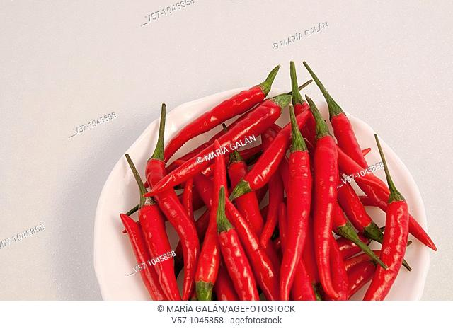 Red chili peppers on a dish