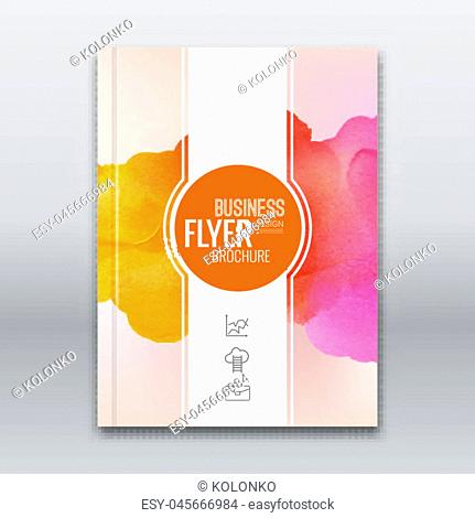 Colorful Business background watercolor stain design. Cover Brochure Magazine flyer report modern unusual template layout mockup infographic