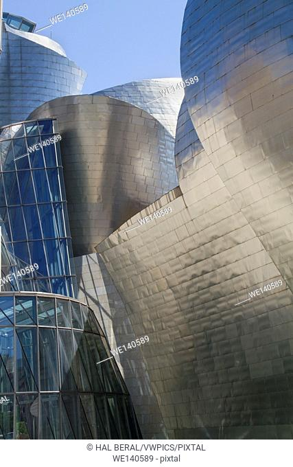 Detail of the metal exterior of the Guggenheim Museum by Frank Gehry. Bilbao,Spain