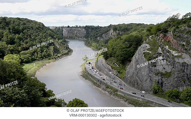 View from the Clifton Suspension Bridge into the Avon River Valley Bristol Somerset England