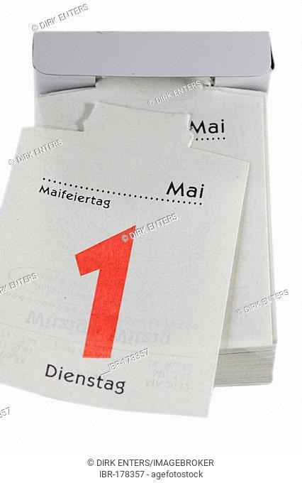 1st of Mai on a small tear off calendar - May Day