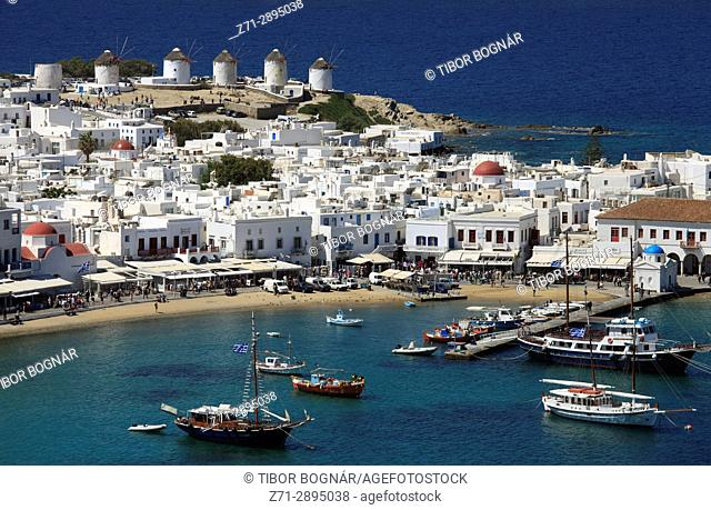 Greece, Cyclades, Mykonos, Hora, harbour, aerial view,
