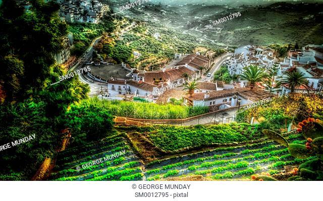 Horticulture avove Frigiliana Village,. Costa del Sol, Malaga Province,. Andalucia, Spain
