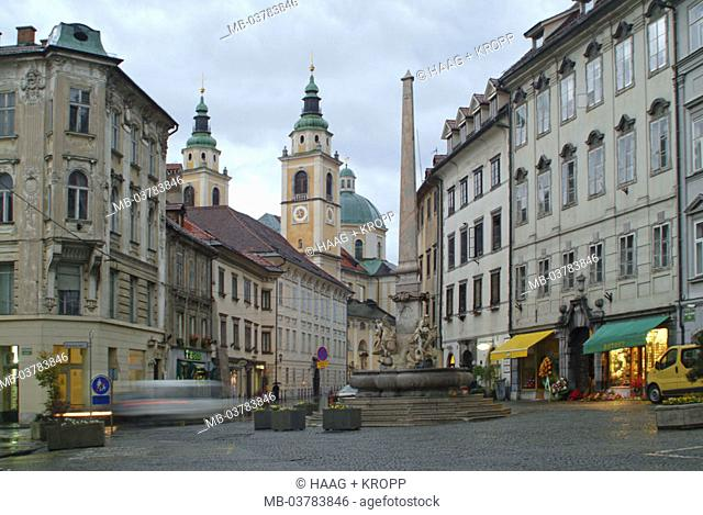 Slovenia, Ljubljana, city place,  'Mestni Trg', wells of the Krainer rivers,  1751 Central Europe, Europe, place, wells,  'Vodnjak treh kranjskih rek'