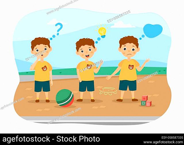 Three young boys playing ball standing outdoors thinking with assorted thought icons and expressions, colored vector illustration