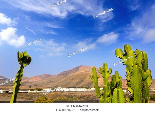 Lanzarote Yaiza white village with cactus and mountains in Canary Islands