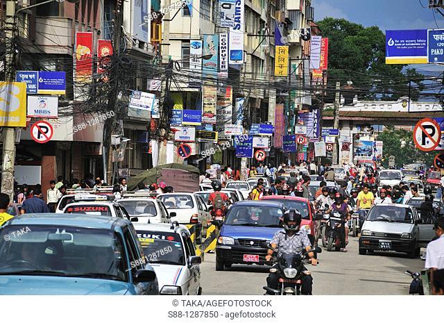 Heavy traffic in Kathmandu