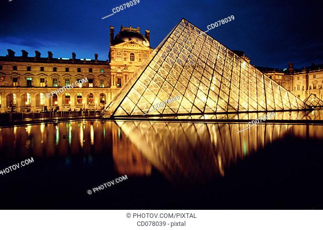 Louvre Museum pyramid. Paris. France