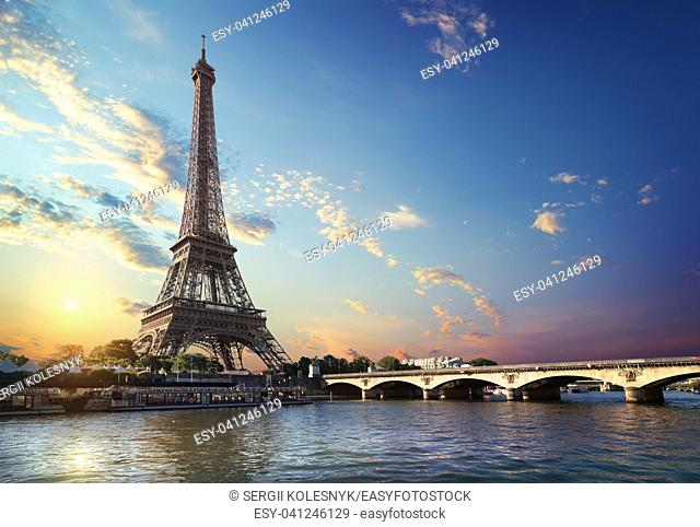 Eiffel Tower and bridge Iena on the river Seine in Paris, France
