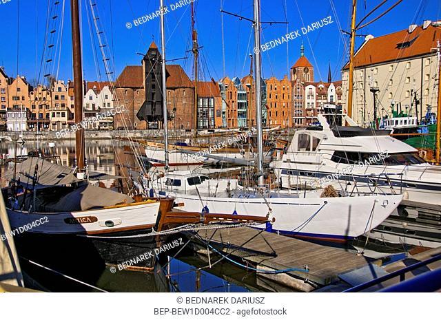 Ships in inner port in Gdansk, Pomeranian Voivodeship, Poland