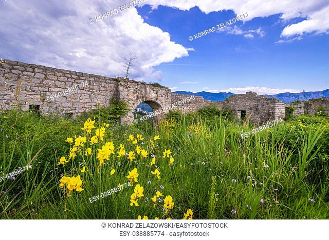 Ruins of 19th century Austrian Mogren Fortress in Budva city on the Adriatic Sea coast in Montenegro