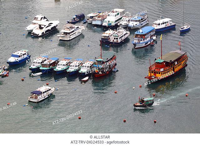 BOATS IN CAUSEWAY BAY TYPHOON SHELTER; HONG KONG, CHINA; 03/05/2015