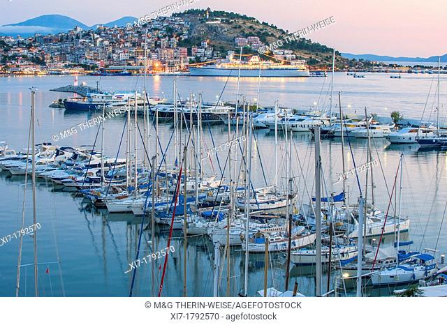 Kusadasi marina and harbor at twilight, Izmir Province, Turkey