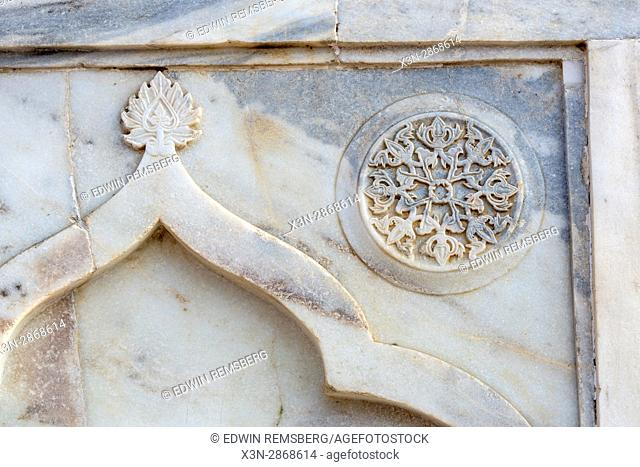 Close up view of the Taj Mahal's white ivory and marble detail, located in Agra, India