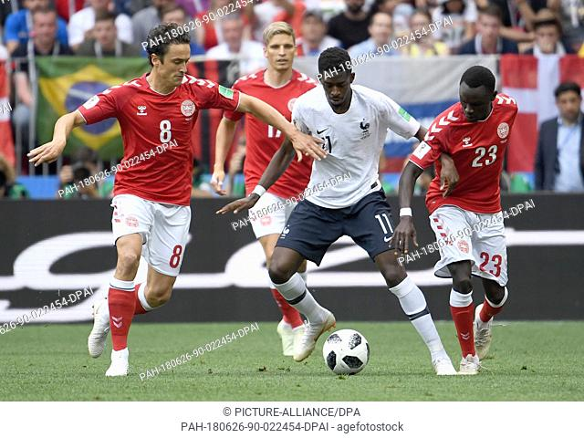 26 June 2018,Russia, Moscow: Soccer: FIFA World Cup 2018, Denmark vs France, group stages, group C, 3rd matchday, Luzhniki Stadium: Denmark's Thomas Delaney...
