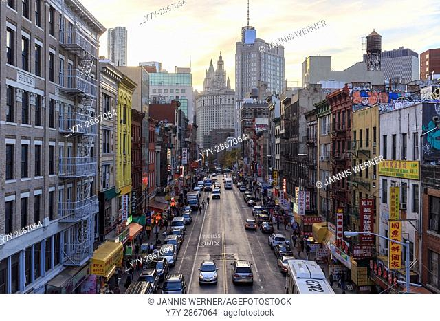 East Broadway on the Lower East Side from the Manhattan Bridge Overpass near sunset in New York, NY, USA