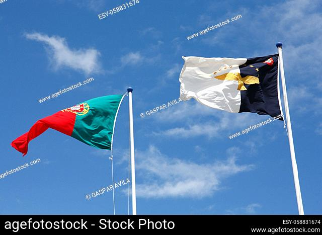 Flags of Portugal and Azores islands