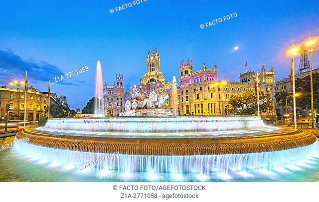 Cybele Fountain square and Madrid city hall at its new location,The Cybele Palace, formerly The Palace of Communication, once the headquarters of the postal...
