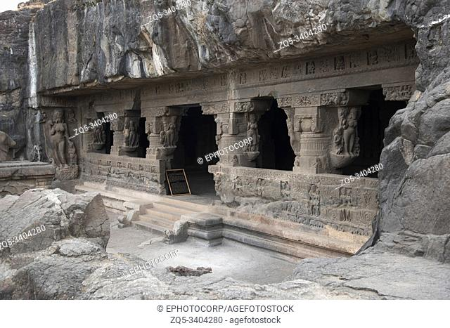 Cave 21 : Facade of cave with Goddess Ganga at left, Ellora Caves in Aurangabad District, Maharashtra, India