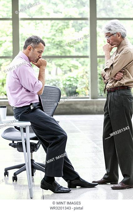 A Caucasian businessman and an Asian businessman ponder a question together
