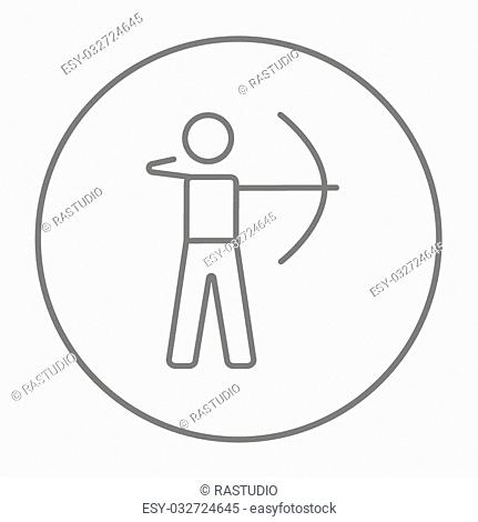 Archer training with the bow line icon for web, mobile and infographics. Vector grey thin line icon in the circle isolated on white background