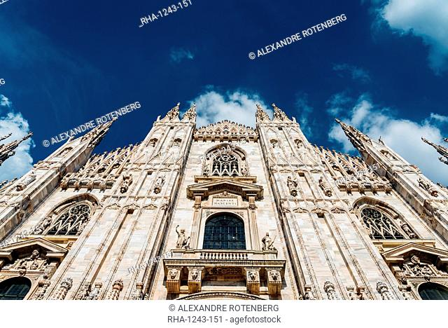 Front and wide angle view of Milan's iconic Duomo Cathedral, Milan, Lombardy, Italy, Europe