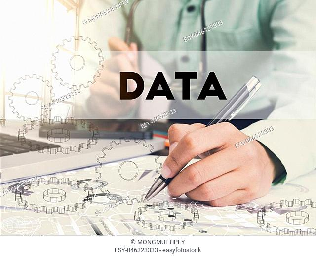 Businessman writing financial data analysis graph report on desk office. concept finance and banking website web page