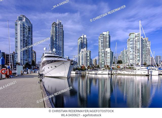 Yaletown's marina in Vancouver, British Columbia, Canada during a sunny fall day in October 2019