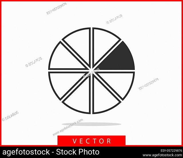 Pie chart icon. Circle diagram vector. Charts graphs logo template