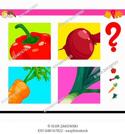 Cartoon Illustration of Educational Game of Guessing Vegetables Food Objects