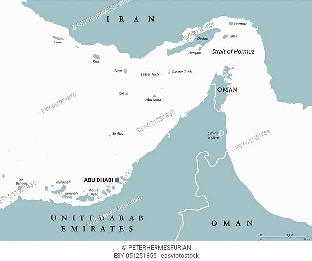 Strait of Hormuz region political map. English labeling. Strait between the Persian Gulf and the Gulf of Oman. The only sea passage from the Persian Gulf to the...