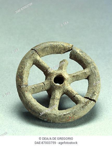 Prehistory, Italy, Bronze Age. Terramare culture. Six spoke wheel. From Emilia Romagna region.  Piacenza, Musei Civici, Museo Archeologico (Archaeological...