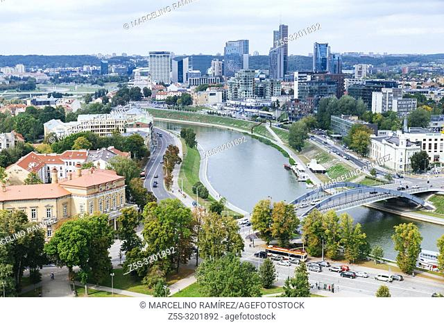 View of the modern Vilnius from Gediminas Tower. Vilnius, Vilnius County, Lithuania, Baltic states, Europe