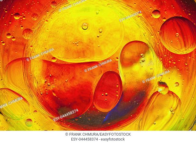 Close-up of Colourful Oil and Water Bubbles and Droplets