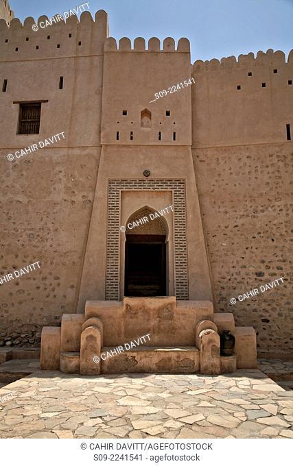 Ornate doorway in Nakhl Fort, Nakhl, Al Batinah South Governorate, Oman