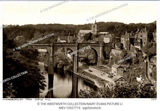 The River & Bridge, Knaresborough, near Harrogate, Yorkshire, England. View from Castle Hill