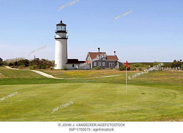 Cape Cod Light also called Highland Light sits amid a golf course  Cape Cod, Massachusetts, USA