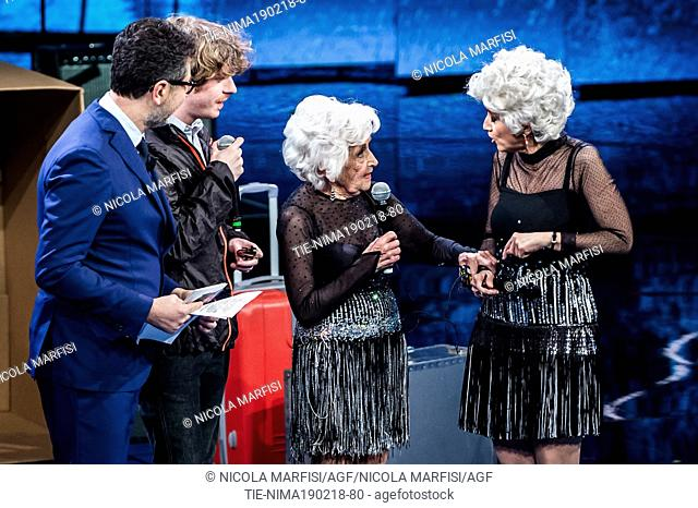 Tv presenter Fabio Fazio, the dancer Paddy Jones and the commedienne Luciana Littizzetto dressed like Mrs Jones at tv show Che tempo che fa, Milan