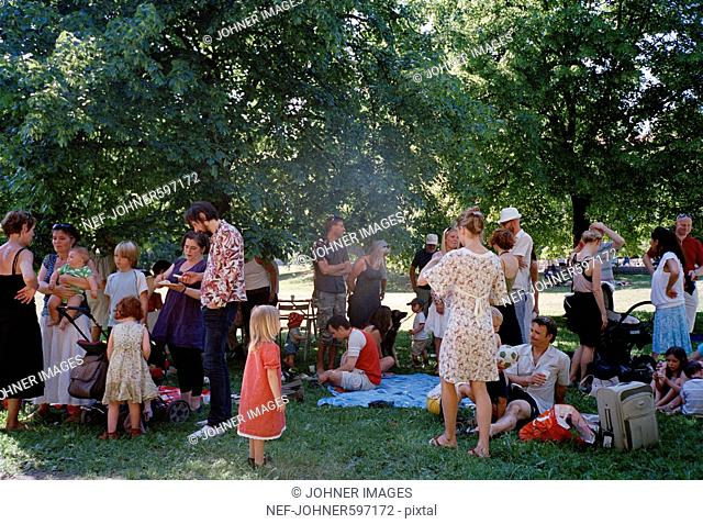 Family party in a park, Stockholm, Sweden