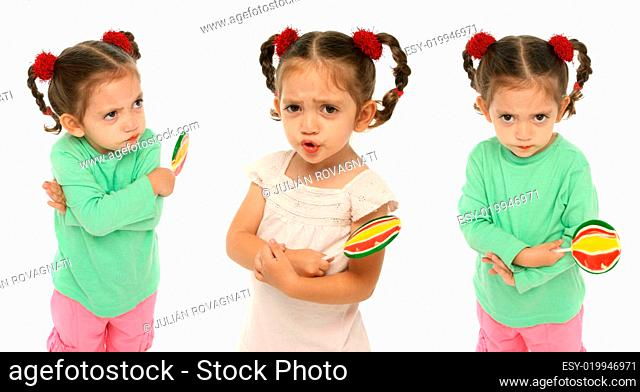 Toddler holding a lollipop with different expressions