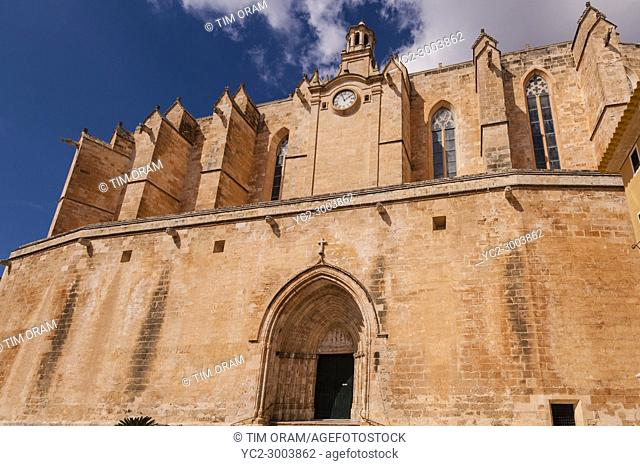 The Cathedral in Ciutadella de Menorca , Menorca , Balearic Islands , Spain