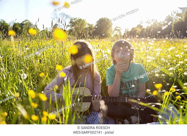 Brother and sister sitting together on field of flowers playing guitar and blowing blowball