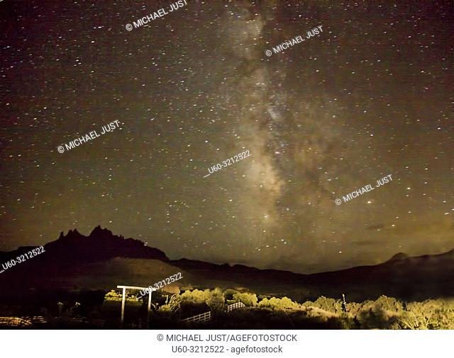 The Milky Way appears over Zion National Park on a moonless night
