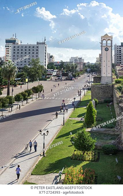 Looking down on the Boulevard Qemal Stafa and the clock tower in the centre of Elbasan, Central Albania,