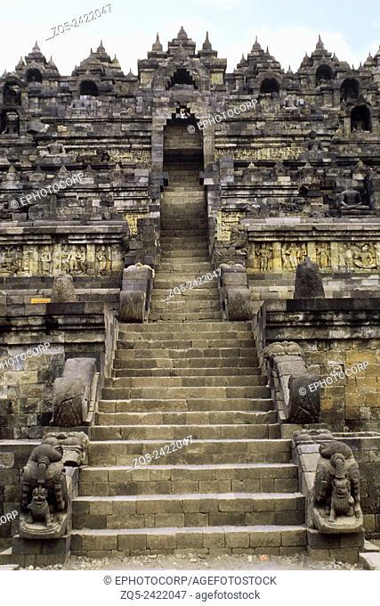 View up east entrance. Borobudur, Indonesia