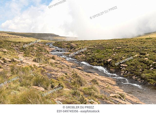The Tugela River, shortly before it plunges 948 m from the top of the Amphitheatre in the Drakensberg. The Tugela Falls, the second tallest waterfall on earth