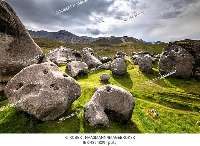 Large limestone boulders at Castle Hill, Canterbury region, South Island, New Zealand