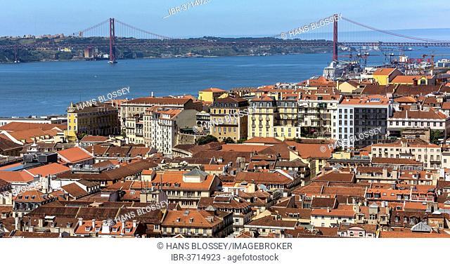 View from Castelo de São Jorge castle over the historic city centre of Lisbon, historic center, Lisbon, Lisbon District, Portugal