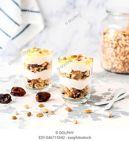 Layered Cardamom Spiced Yogurt with Granola, Dried Figs and Honey, square